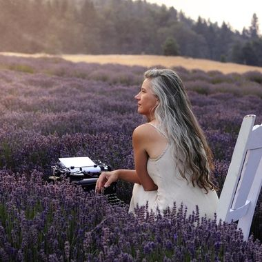 Contemplating poetry in the Lavender Garden