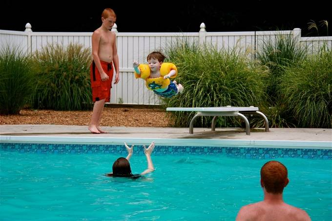 My nephew loves the pool and jumping off the diving board!  Even though he has on floats someone would still have to be in the deep end to catch him.