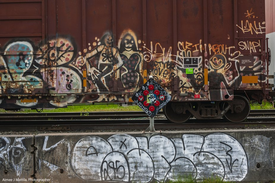 Train tracks and spray can artists
