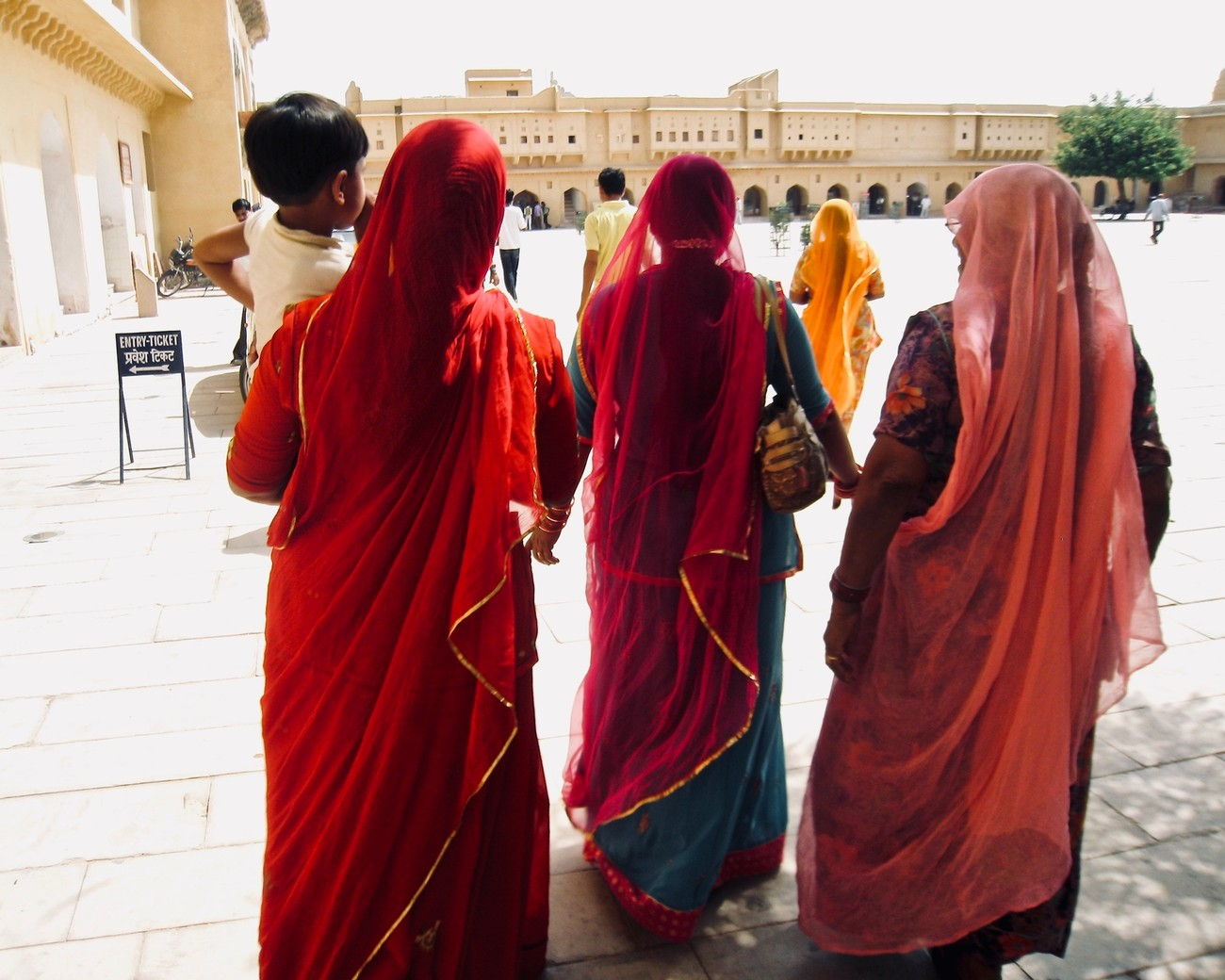 Amber Fort, Jaipur, ladies exit the fort headed for the buses