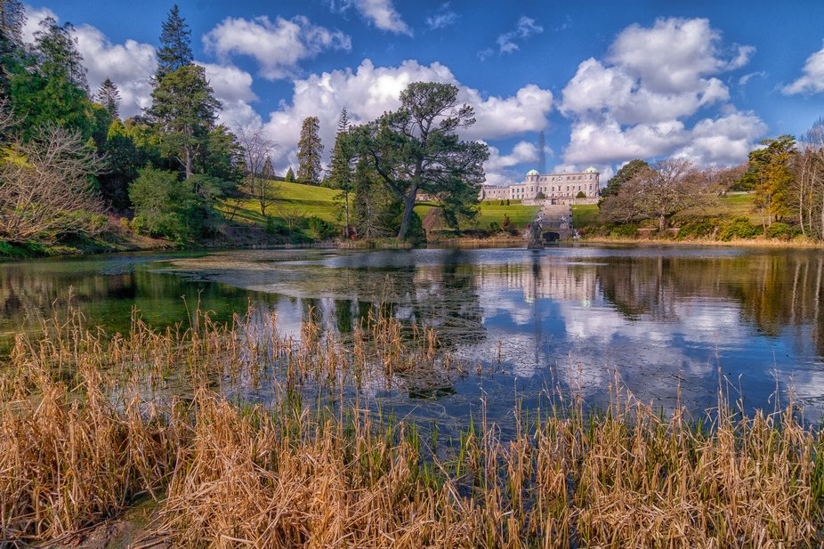 Powerscourt House and lake.