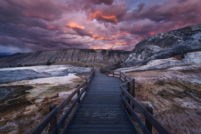 Mammoth Hot Springs at Sunset, Yellowstone National Park by Danielvg - Social Exposure Photo Contest Vol 17