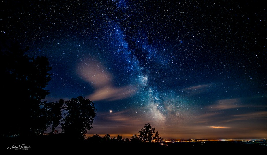 """A clear cold night at the """"Lake Constance"""" in southern Germany. The planet call..."""