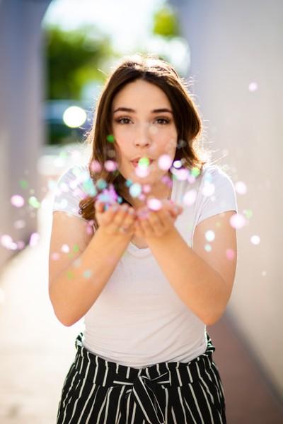 Beautiful Female Portrait Glitter Confettie Blow