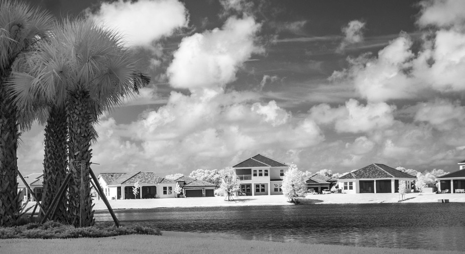 Houses and pond - infrared