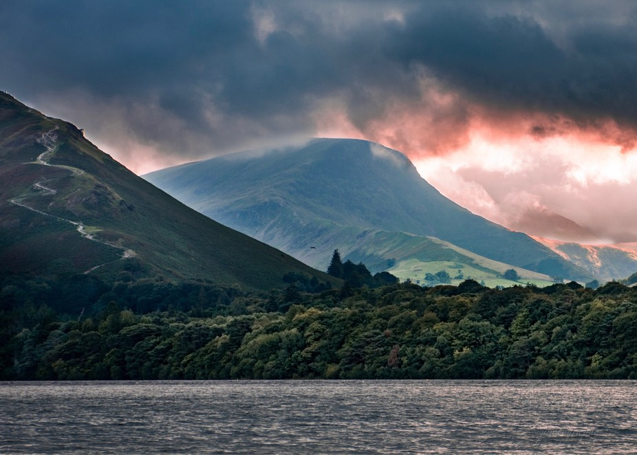 Moody landscape over Derwent Water, Lake District, Cumbria