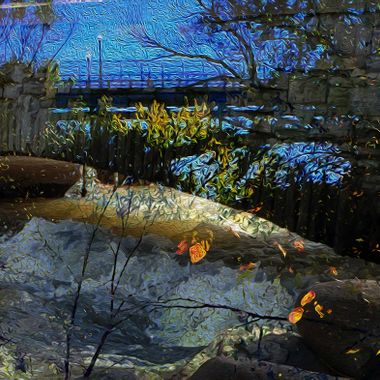 A montage of photos taken while hiking from Minnehaha Falls to the Mississippi River one fall day. Through filtering and layer, a photo montage blended into a landscape of night, capturing moonlight on leave, rock, and water, the bridge and its lights in the distance.