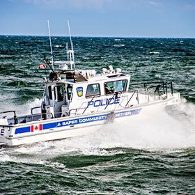 Police boat in action