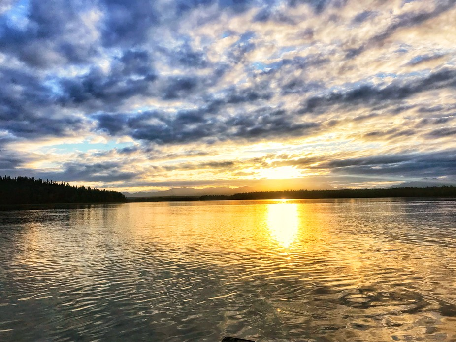 Our first morning at sunrise on Skilak Lake in the Kenai National Wildlife Preserve. No motors on the lake and it was the most peaceful and tranquil time of day. Sunrise was absolutely gorgeous.