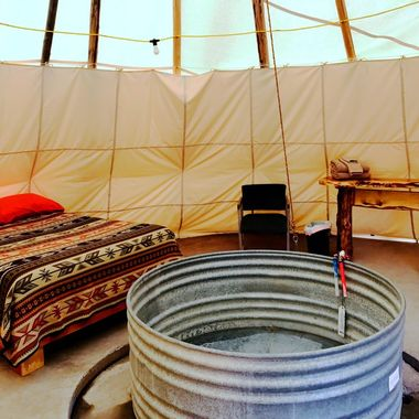 Teepee with hot tub
