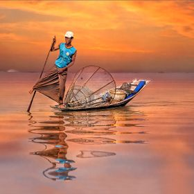 Fisherman on Inle Lake (Myanmar) when working.