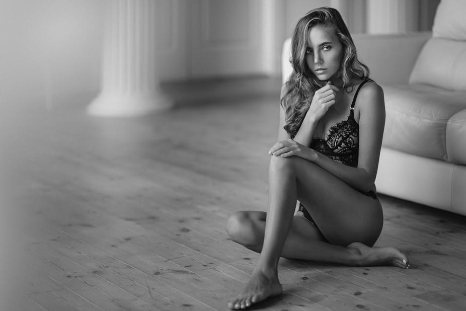 Katya Clover in black and white
