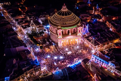 Drone shot of the Mosta dome during the annual feast of St. Mary in Malta