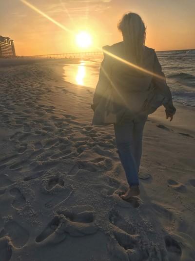 Sunset walk on the Navarre beach.