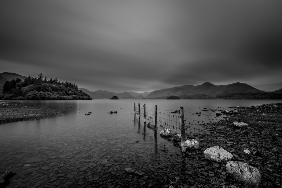 Long exposure taken from the shores of Derwentwater, Keswick, Lake District, UK