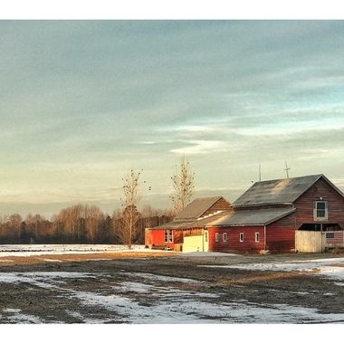 American Red Barn with Flag