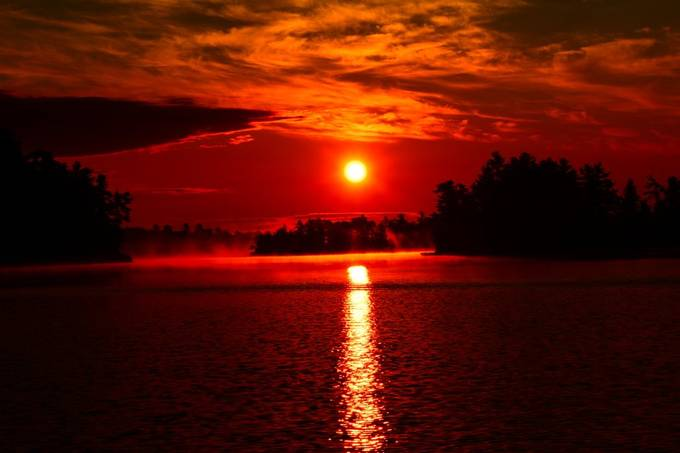 A combination of fog, smoke from forest fires and clouds made for a truly beautiful sunrise!
