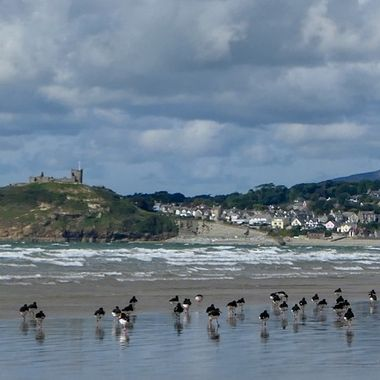 View towards castle from Criccieth beach, Wales.