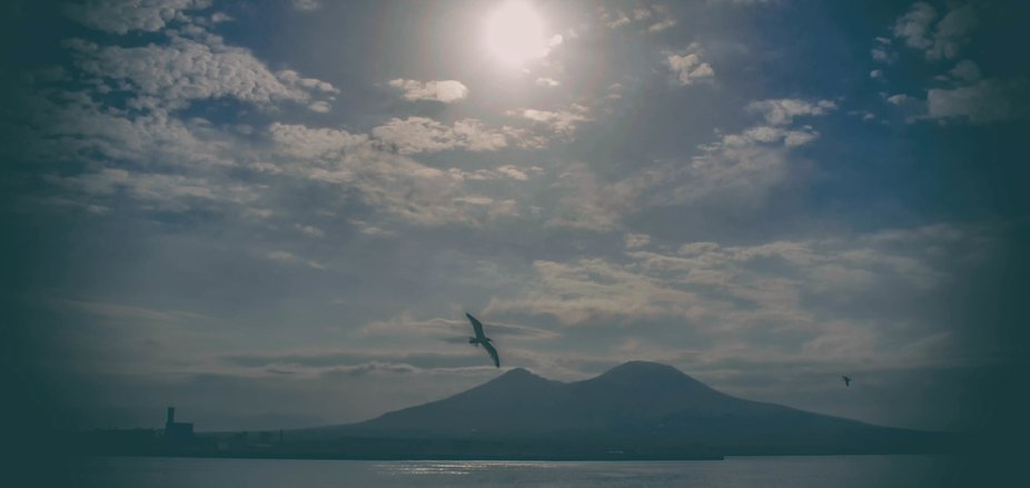 A shining sun on the sea with the shade of a seagull gliding on the shape of the most famous italian volcano resting on the horizon between clouds, calm sea and lite fog
