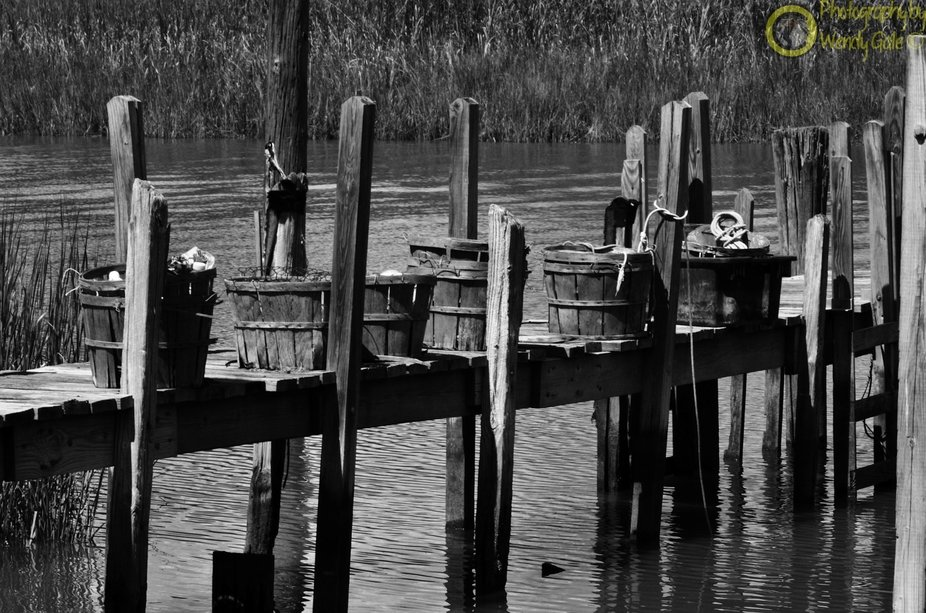 Baskets lined up on the dock.