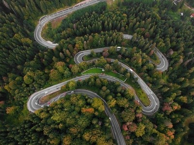 Aerial view of winding road in Romania