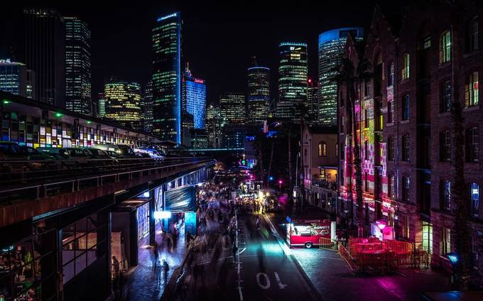 Technicolor Sydney by srahwinter - Bright City Lights Photo Contest