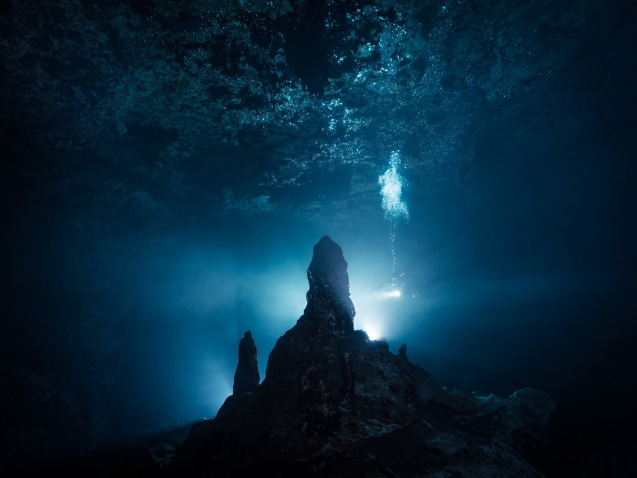 The picture was taken during cave diving in Yucatan, Mexico, 2017.