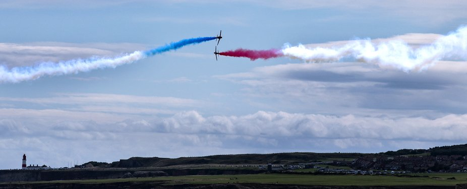 The red arrows doing their display in Tynemouth this afternoon after the Great North Run