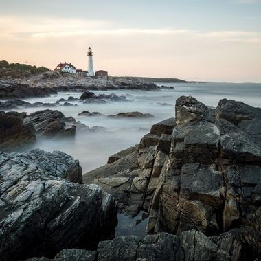 Long exposure of the Portland Head Lighthouse in Cape Elizabeth Maine