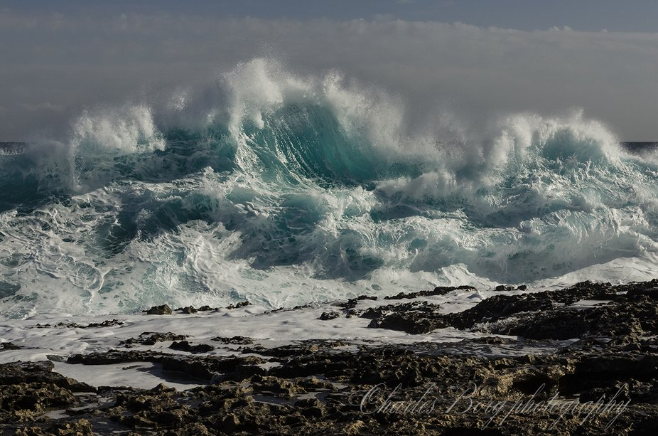 Rough sea during a very sunny day.