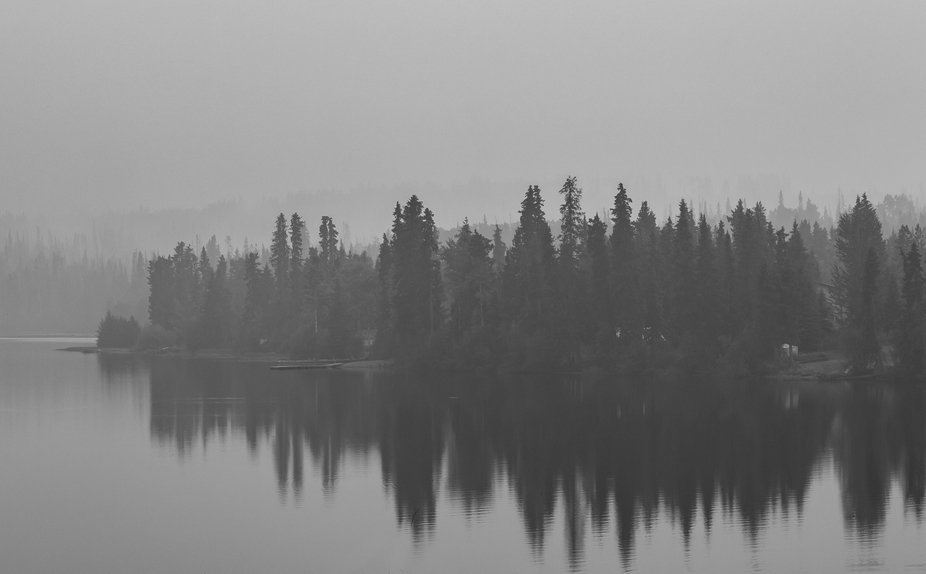 Smoke shrouded photo in British Columbia, Canada during the wildfires.