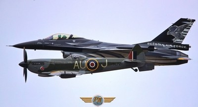 Past and present - F16 with Spitfire