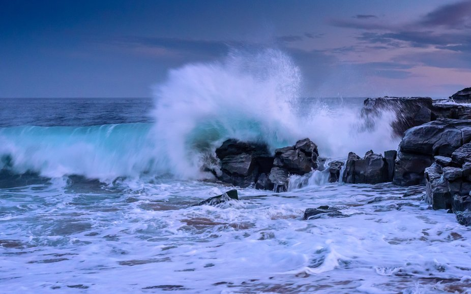 Photo taken at sunset near San Remo , Phillip Island Australia. A long exposure of strong waves c...