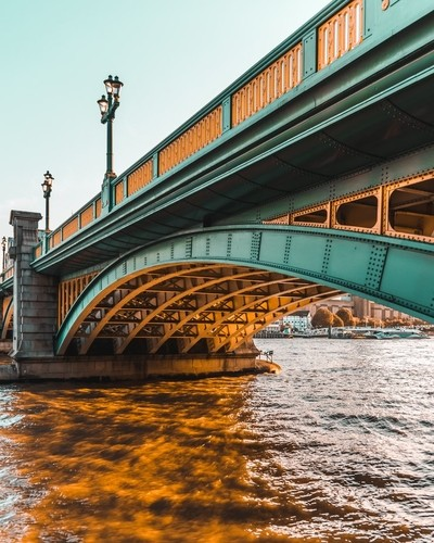 Southwark Bridge in golden bath