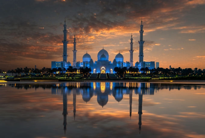 Mosque sunset by mauritzchristiaanjaneke - Lakes And Reflections Photo Contest