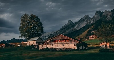 Mountain village in the glow of the setting sun