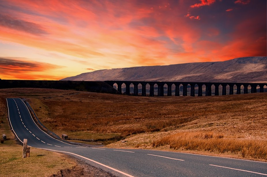 The Ribblehead Viaduct or Batty Moss Viaduct carries the Settle–Carlisle Railway across Batty M...