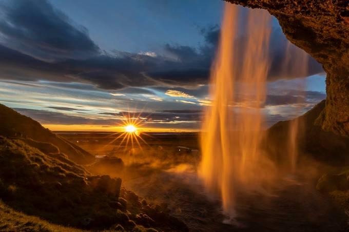 Sunburst at Seljalandsfoss by Jonrunar - Monthly Pro Photo Contest Vol 44