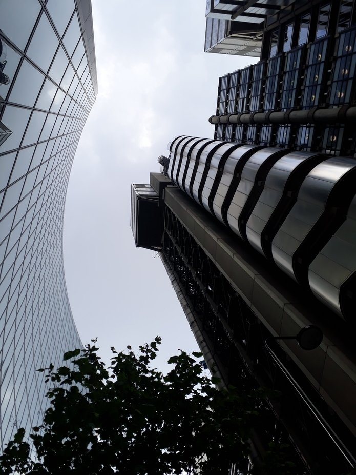 """""""Spiraling up"""" is a worm's eye-view of the Lloyd's building b..."""