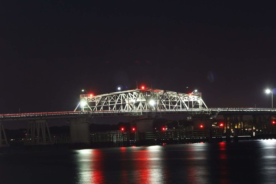 This is a wonderful view of the Beaufort bridge at night.