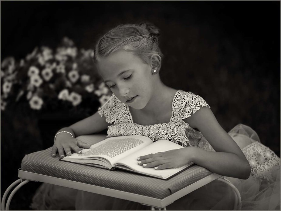 kristian always loved to read. So a photo of her reading seemed like the perfect pose