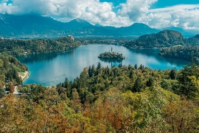 Lake Bled and the only island in Slovenia