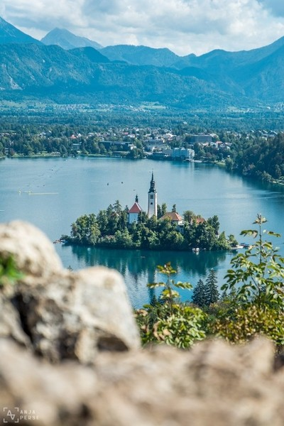 Lake Bled from behind the rocks