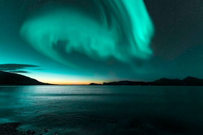 Aurora VS Sunset by paaluglefisklund - Night Wonders Photo Contest