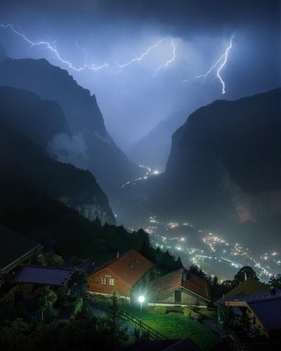 Lauterbrunnen, Switzerland during a late night thunderstorm