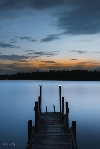 Blue Hues Over Still Lake