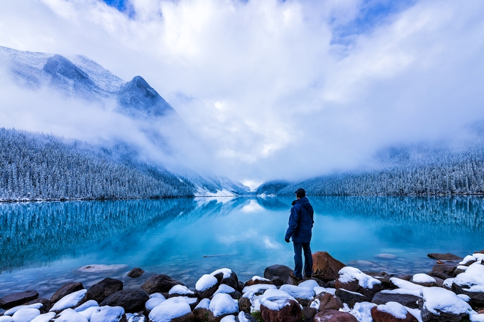 Person at Lake Louise by Bluesky25 - Monthly Pro Photo Contest Vol 44