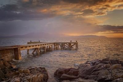 Sunset over Portencross Pier, Scotland.