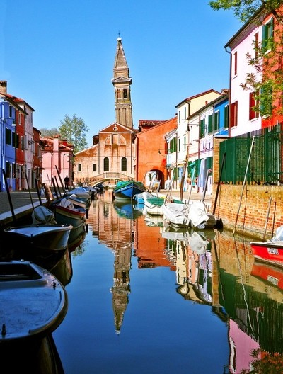 A Leaning Church Steeple on the Island of Burano Italy
