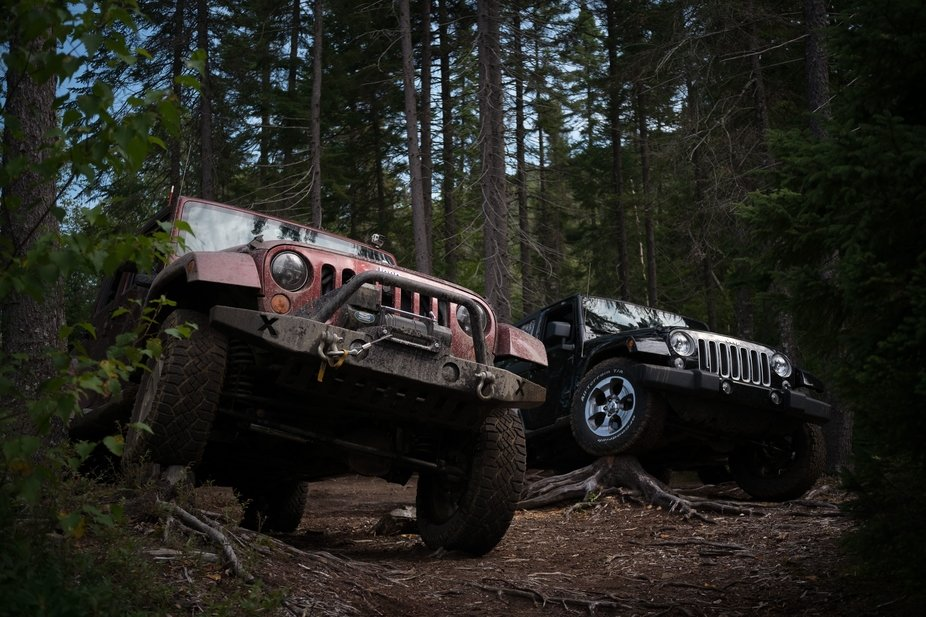 Just a casual 'Jeep posing' shot on a scouting trip near the region of Saint-Donat-de-Montcalm, QC, Canada and the Mont Tremblant National Park. I think it would make a great advertising shot - imagine this in a Jeep brochure, with the logo or a block of text in the upper right.  Shot with Meike 28mm F2.8